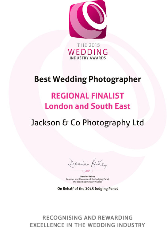 The 2015 Wedding Industry Awards REGIONAL FINALISTLondon a
