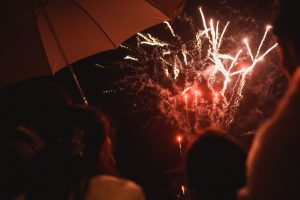 guests watch firework display