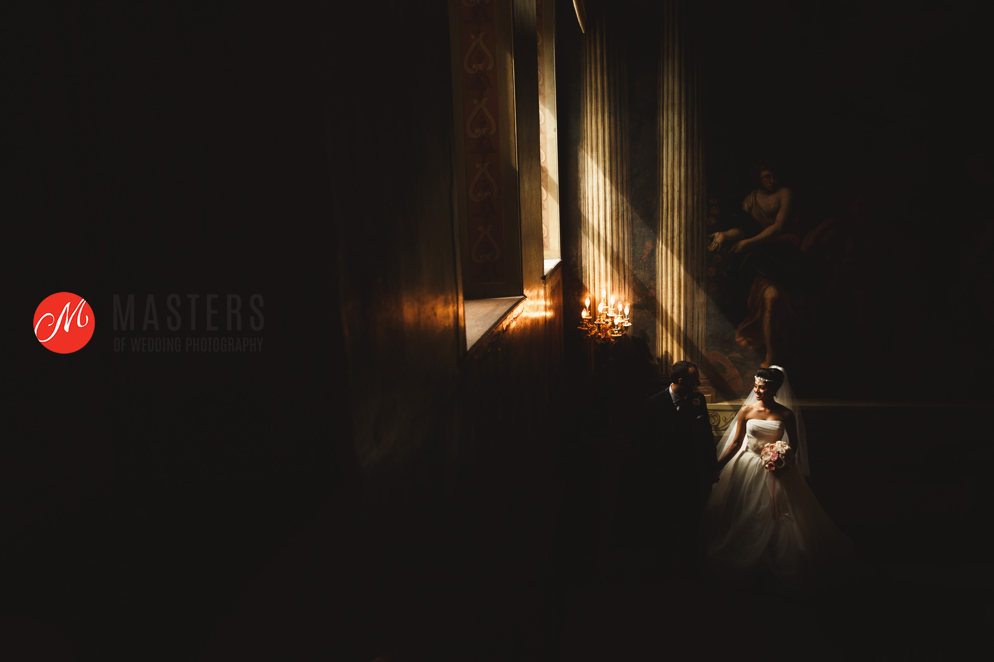 wide shot with natural light captured at wedding venue