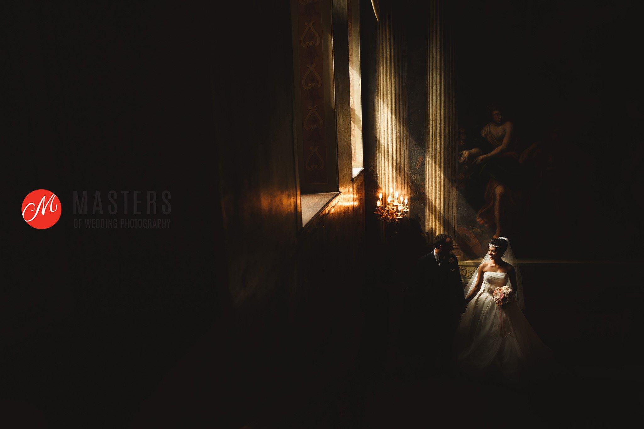 wide shot with natural light captured at wedding venue